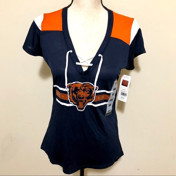 18abccd8 NWT Women's NFL Chicago Bears Tie Top Shirt SZ M NWT